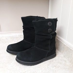 Sketchers Black Leather Faux Fur Lined Boots